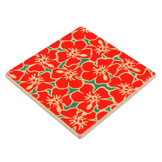 Red Hibiscus Flowers Tropical Hawaiian Luau Party Wooden Coaster