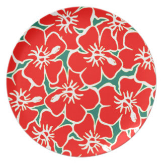 Red Hibiscus Flowers Tropical Hawaiian Luau Plate