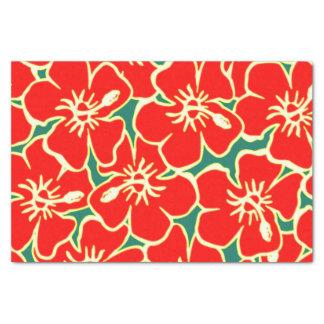 Red Hibiscus Flowers Tropical Hawaiian Luau Tissue Paper