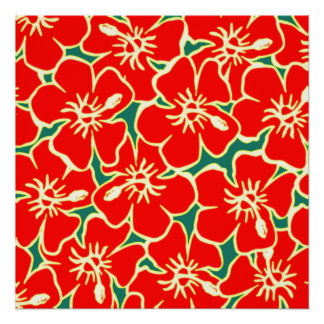 Red Hibiscus Flowers Tropical Hawaiian Luau Perfect Poster
