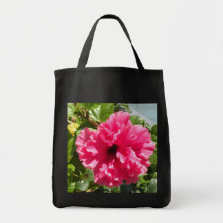 Red Hibiscus Grocery Bag
