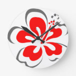 Red hibiscus Hawaii theme gifts Wall Clocks