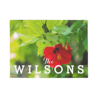 Red Hibiscus Hawaii Tropical Flower • Family Name Doormat
