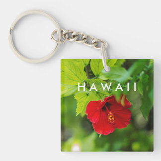 Red Hibiscus Hawaii Tropical Flower Keychain