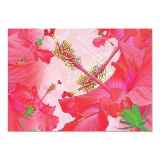 """red hibiscus"" Hawaiian Themed INVITATION"
