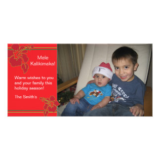 Red Hibiscus Holiday Christmas Photo Card 2