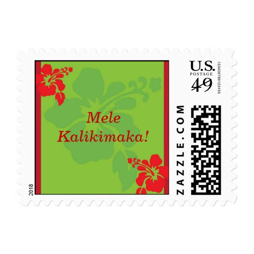 Red Hibiscus Holiday Christmas Stamp