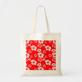Red Hibiscus Honu Hawaiian Pattern Canvas Bags