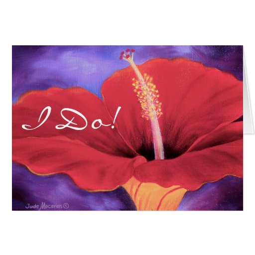 Red Hibiscus I Love You Wedding ... - Customized Card