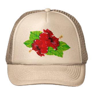 Red Hibiscus Illustration Hat