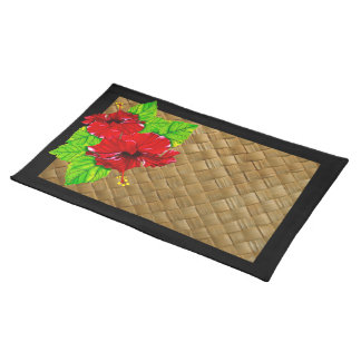 Red Hibiscus Illustration Placemats