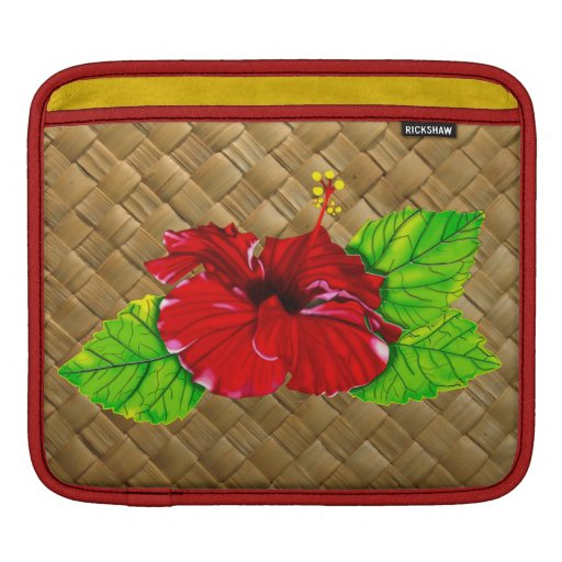 Red Hibiscus Illustration Rickshaw Sleeve Sleeves For iPads