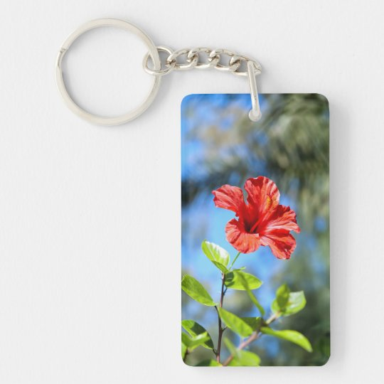 Red Hibiscus Keychain