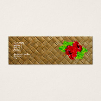 Red Hibiscus Lauhala Business Cards Skinny