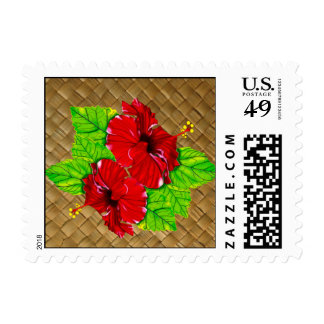 Red Hibiscus Lauhala Postage