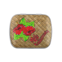 Red Hibiscus Mele Kalikimaka Christmas Candy 2 Jelly Belly Tin