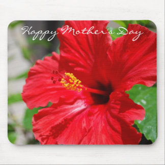 Red Hibiscus Mother's Day Mousepad