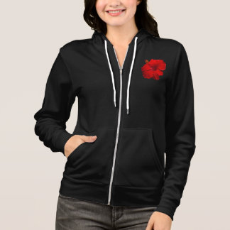 Red Hibiscus on Black - Customized Template Hoodie