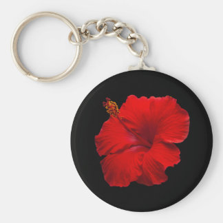 Red Hibiscus on Black- Customized Template Keychains