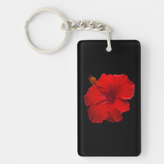 Red Hibiscus on Black - Customized Template Keychain
