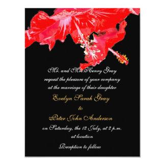 Red hibiscus on black exotic wedding custom invitation
