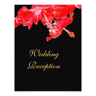 Red hibiscus on black Wedding Reception Card
