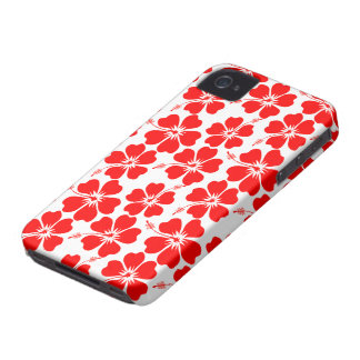 Red Hibiscus on White iPhone 4 Cases