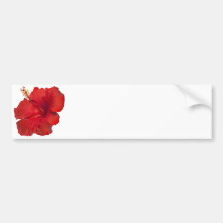 Red Hibiscus on White- Customized Template Car Bumper Sticker