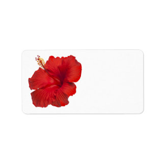 Red Hibiscus on White - Customized Template Label