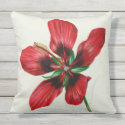 "Red Hibiscus Outdoor Pillow 20"" x 20"""