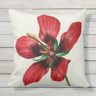 """Red Hibiscus Outdoor Pillow 20"""" x 20"""""""