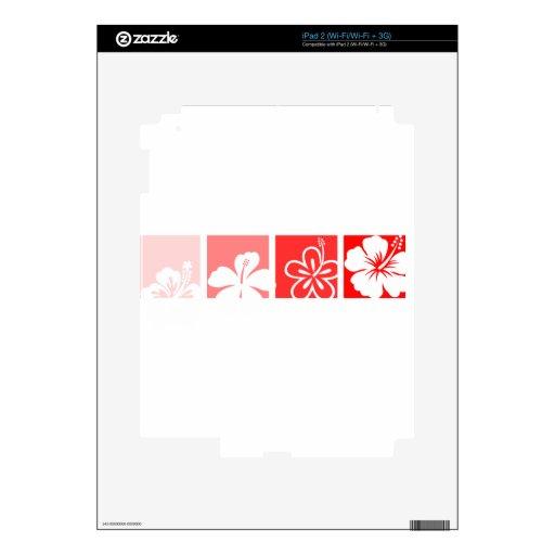 Red Hibiscus pastel design Decal For iPad 2