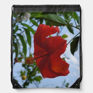 Red Hibiscus Drawstring Backpacks