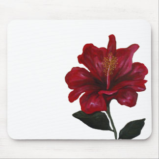 Red Hibiscus (plain) Mouse Pad