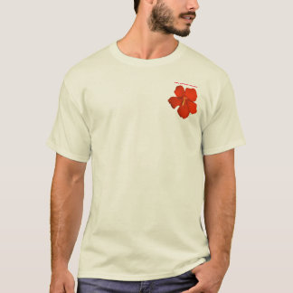 "Red Hibiscus Pocket T-Shirt ~ ""THINK KAUAI"""