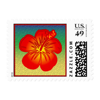 Red hibiscus postage stamp