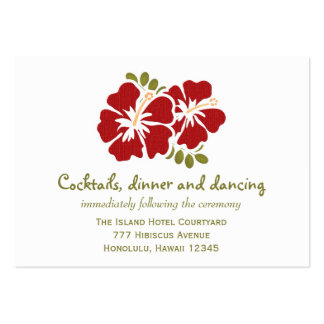 Red Hibiscus Reception Enclosure Cards Large Business Cards (Pack Of 100)