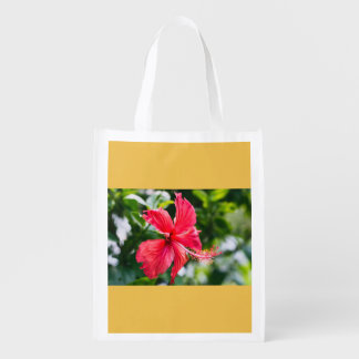 Red Hibiscus Reusable Grocery Bag