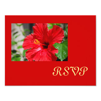 Red Hibiscus RSVP Cards