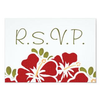 "RED HIBISCUS RSVP WEDDING RESPONSE CARDS 3.5"" X 5"" INVITATION CARD"