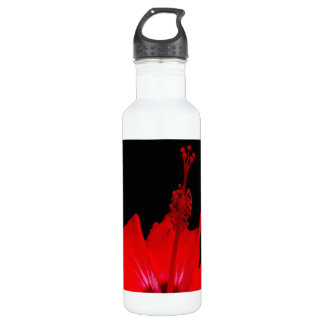 Red Hibiscus Stainless Steel Water Bottle
