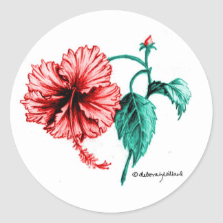 Red Hibiscus Stickers