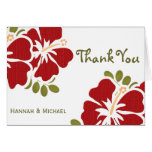 Red Hibiscus Thank You Notes Cards