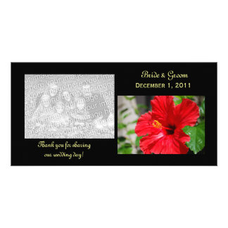 Red Hibiscus Thank You Photo Cards