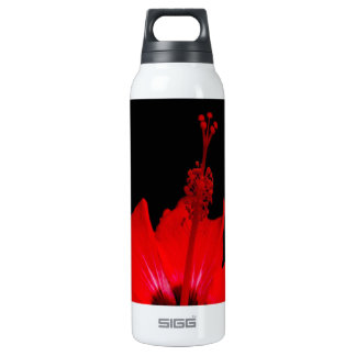 Red Hibiscus Thermos Water Bottle