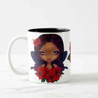 Red Hibiscus Tiki Fairy Two-Tone Coffee Mug