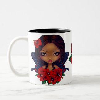 Red Hibiscus Tiki Fairy Two-Tone Coffee Mug