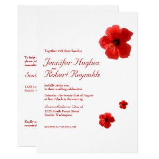Red Hibiscus Tropical Budget Wedding Invitation