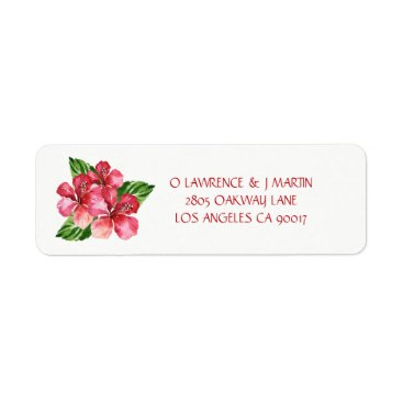 Beach Themed Red Hibiscus Tropical Floral Watercolor Label