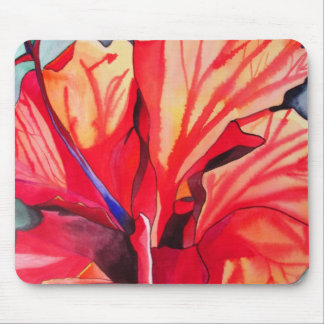 Red Hibiscus tropical flower art Mouse Pad